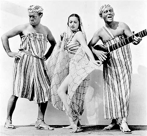 Bob Hope (left) and Big Crosby (right) vie for Dorothy Lamour's affections - and meaningful employment.