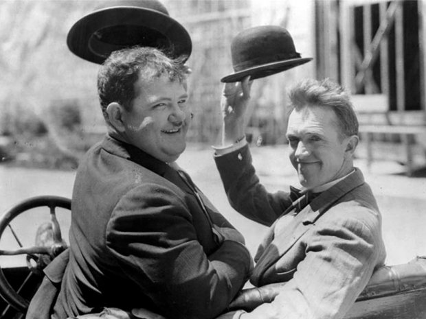 Oliver Hardy (left) and Stan Laurel .... Image: alsdfjk as