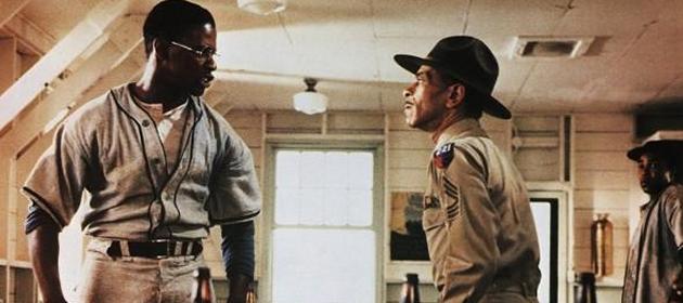 Denzel Washington (left) tells Adolph Caesar alksdj fskdj. Image: ksdj f
