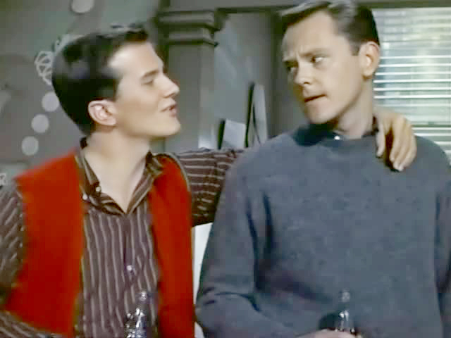Pat Boone (left) counsels Dick Sargent on the ways of l'amour. Image: ebay