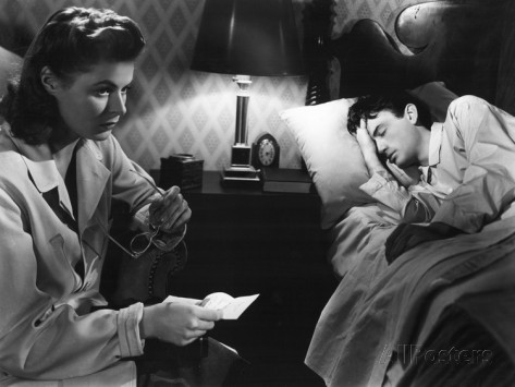 Ingrid Bergman discovers Gregory Peck (asleep) is not who he claims to be. Image: AllPosters