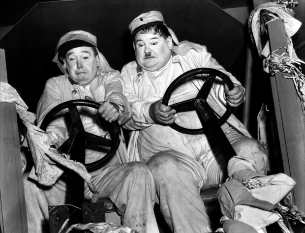 Stan Laurel (left) and Oliver Hardy are in another fine mess. Image: Wikipedia