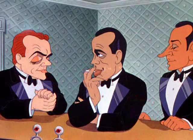 L-R: James Cagney, Humphrey Bogart and George Raft at the bar. Image: lksdj fdskj f