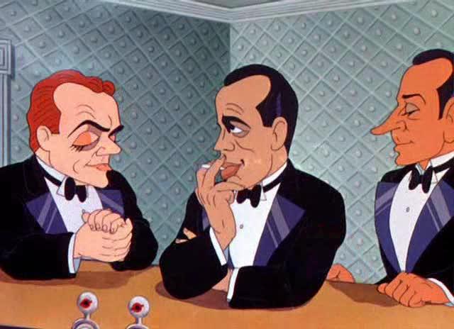 L-R: James Cagney, Humphrey Bogart and George Raft at the bar. Image: lksdj fdskj f