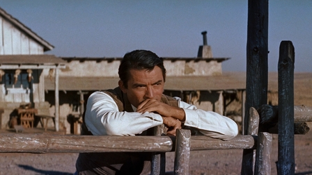 Gregory Peck studies another adversary – a horse. Image: mubi.com
