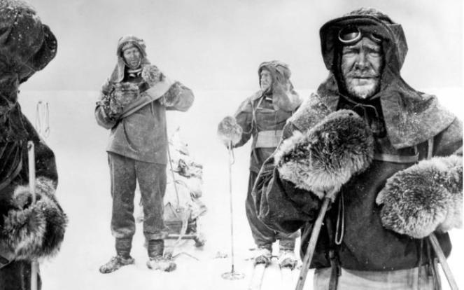 John Mills as Robert F. Scott, trudging his way across ice and snow. Image: