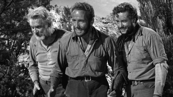 Walter Huston (left) mentors Humphrey Bogart (centre) and Tim Holt. Image: