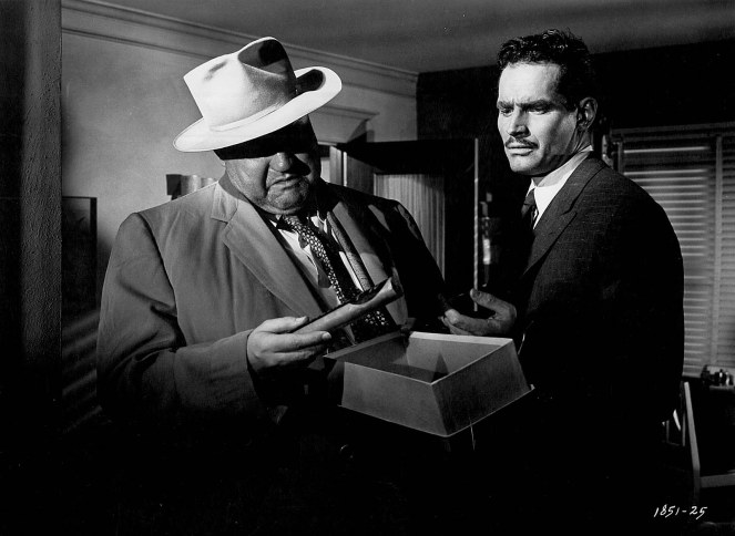 Welles shows planted evidence to Heston. Image: Phoenix Critics Circle