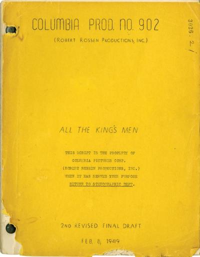 Lot 456: All the King's Men vintage original 2nd revised final draft script