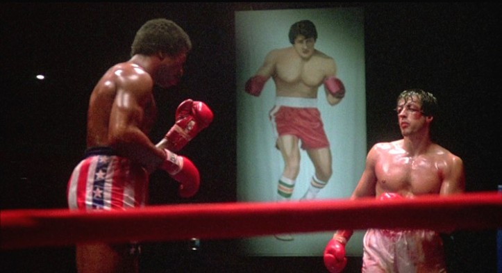 Rocky and Apollo Creed duke it out in the ring. Image: LA Weekly