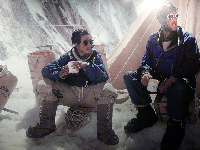 Tenzing Norgay (left) and Edmund Hillary on Mt Everest. Image: Alex Grant