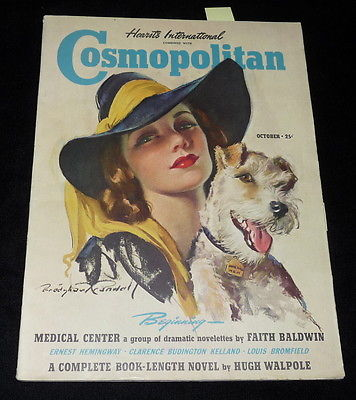 Jane Hall on the cover of Hearst International Cosmopolitan, October, 1939. Image: terapeak.com